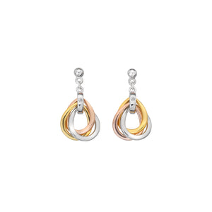 Trio Teardrop Earrings - Rose And Gold Plate Accents