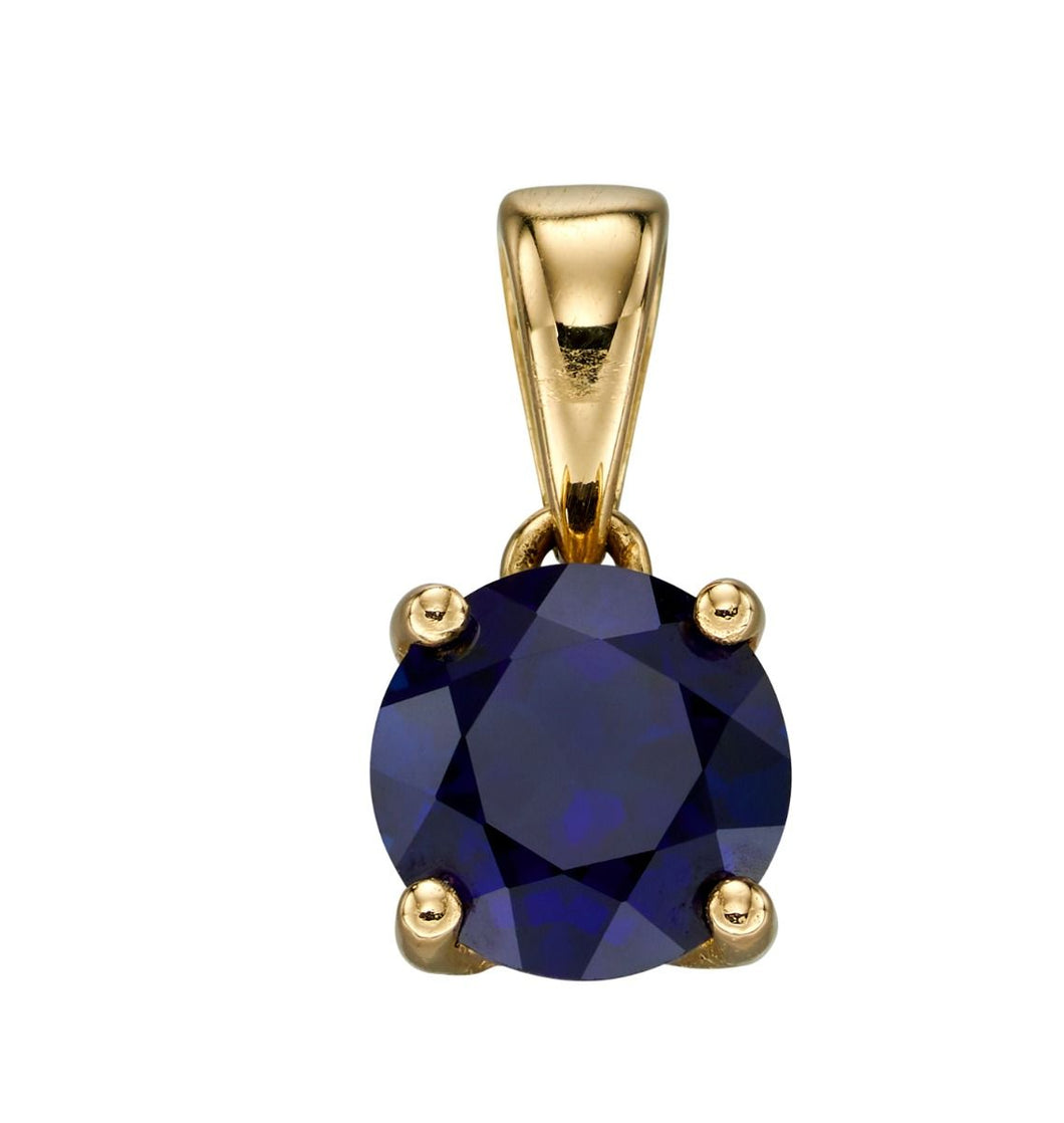 9ct Yellow Gold Birthstone Pendant - September - Created Sapphire