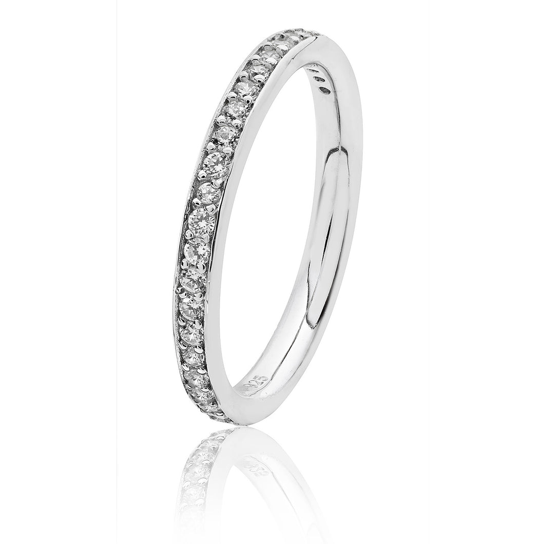 Silver 2.4mm Thread And Grain Set Half Eternity CZ Ring Rhodium Plated