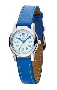 D For Diamond Blue Leather Strap Green Detail Watch