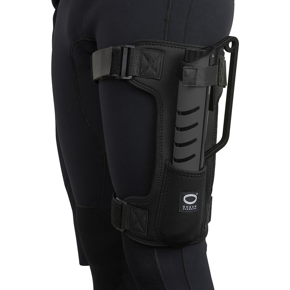Ocean Guardian eSPEAR in Carbon Black colourway sitting in Holster accessory. Sold separately.