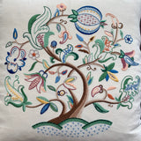 Vintage Linen Cushion with Crewel Embroidery
