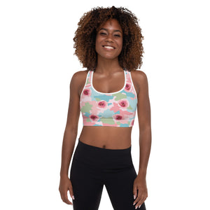 Roses And Camouflage Sports Bra