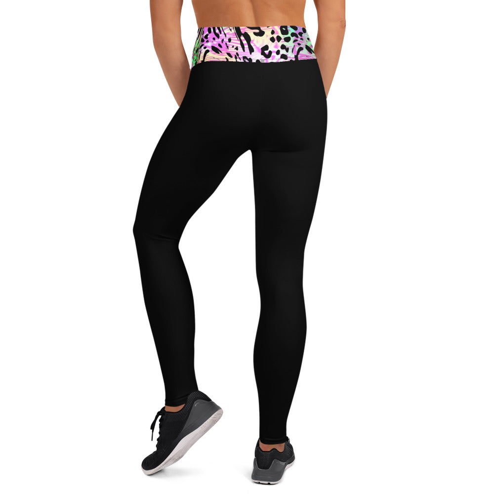 Pink Zebra And Tiger Waistband Black Leggings