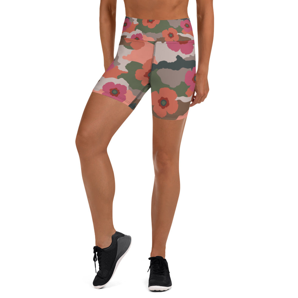 Coral And Rose Floral Camouflage Shorts