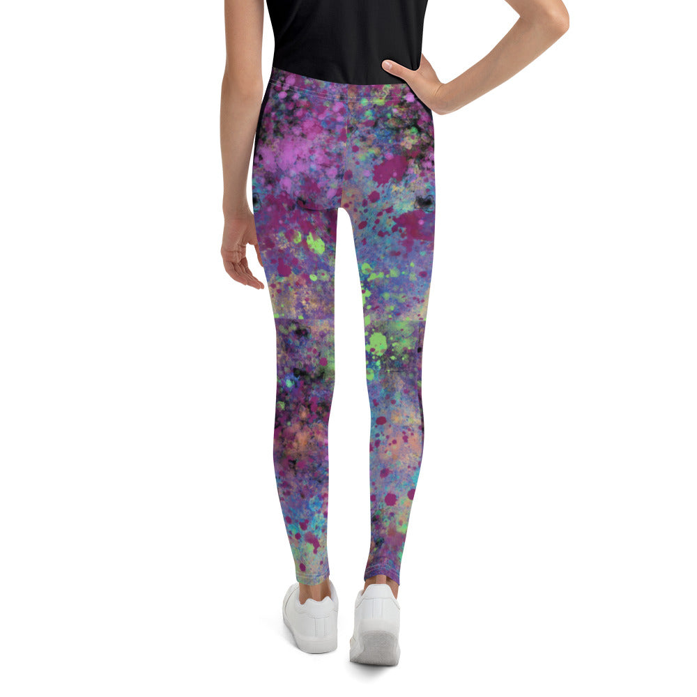 Girl's Burgundy Paint Splattered Leggings