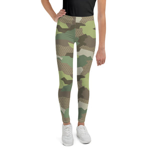 Girl's Green Desert Camouflage Leggings