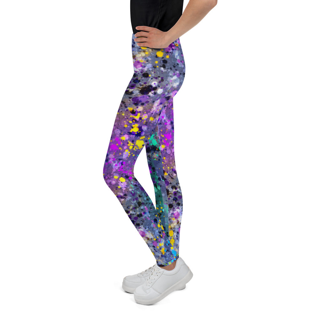 Girl's Purple Paint Splattered Leggings