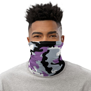 Gray, Black And Purple Camouflage Neck Gaiter