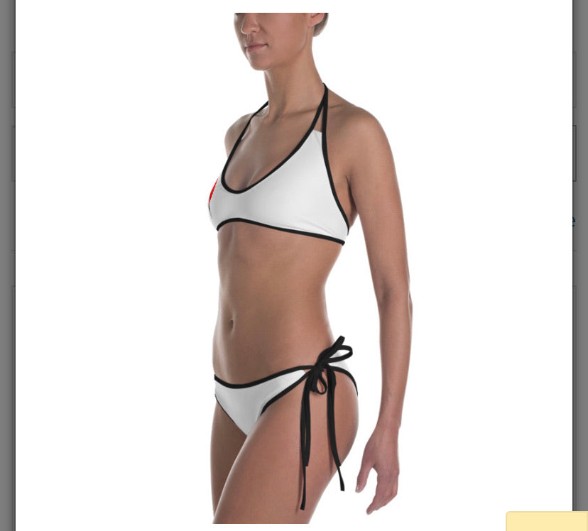 White/Black Camo Reversible Bathing Suit Set