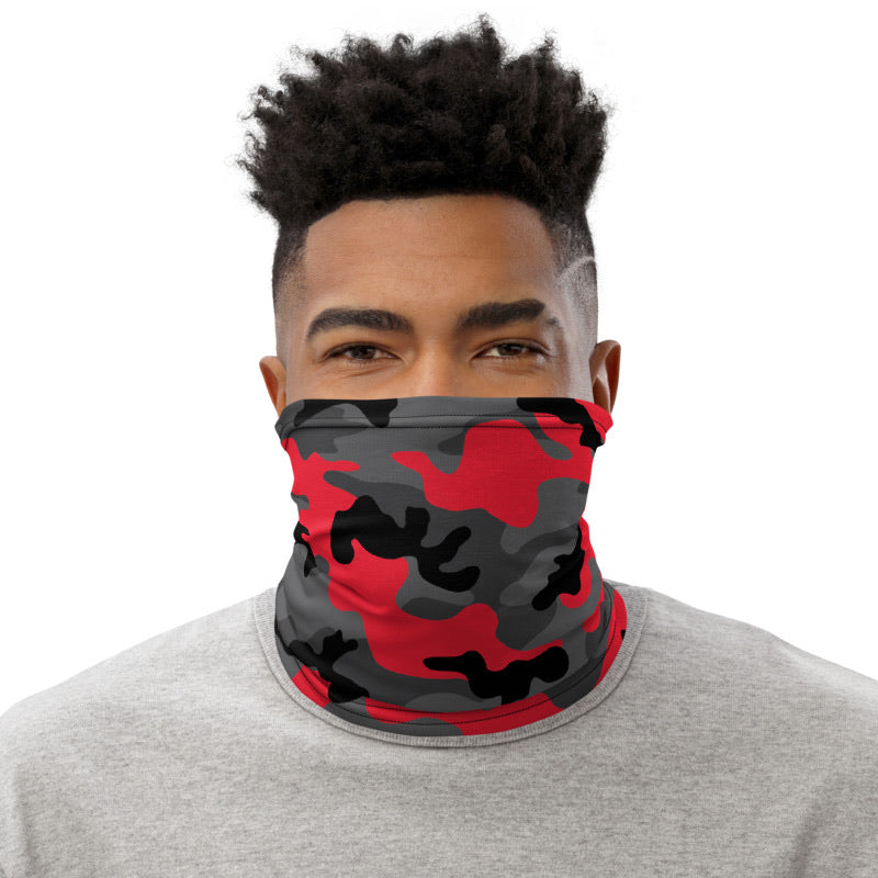 Red And Black Camouflage Neck Gaiter