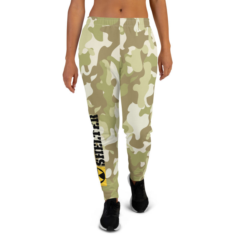 Ladies Bomb Shelter Joggers All Over Green Camo