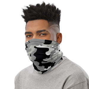 Gray, Black And White Camouflage Neck Gaiter