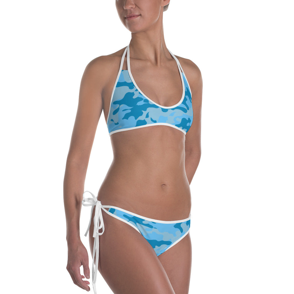 Reversible Blue/Camo Bathing Suit Set