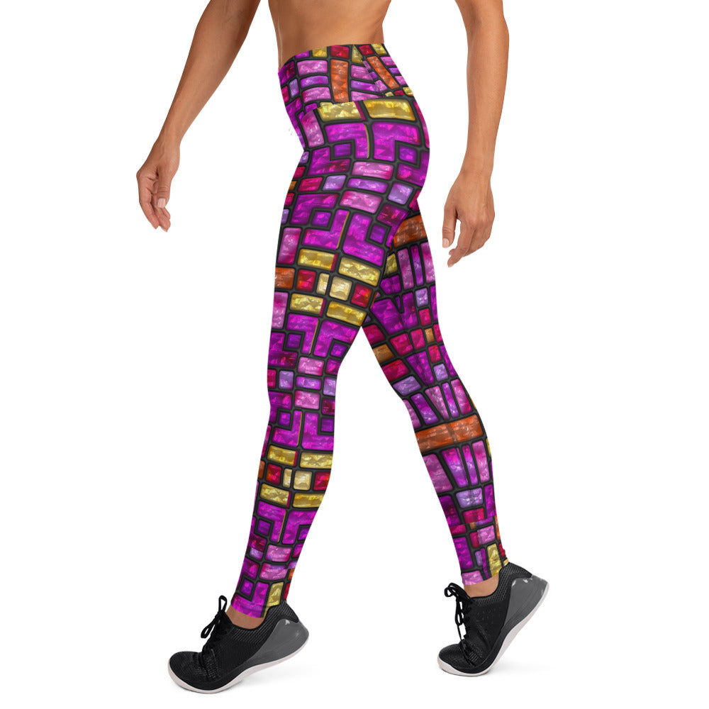 Stained Glass Magenta And Ruby Leggings