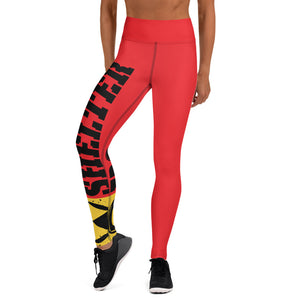 Red And Black Bomb Shelter Logo Leggings