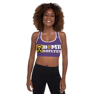 Purple And White Bomb Shelter Logo Sports Bra