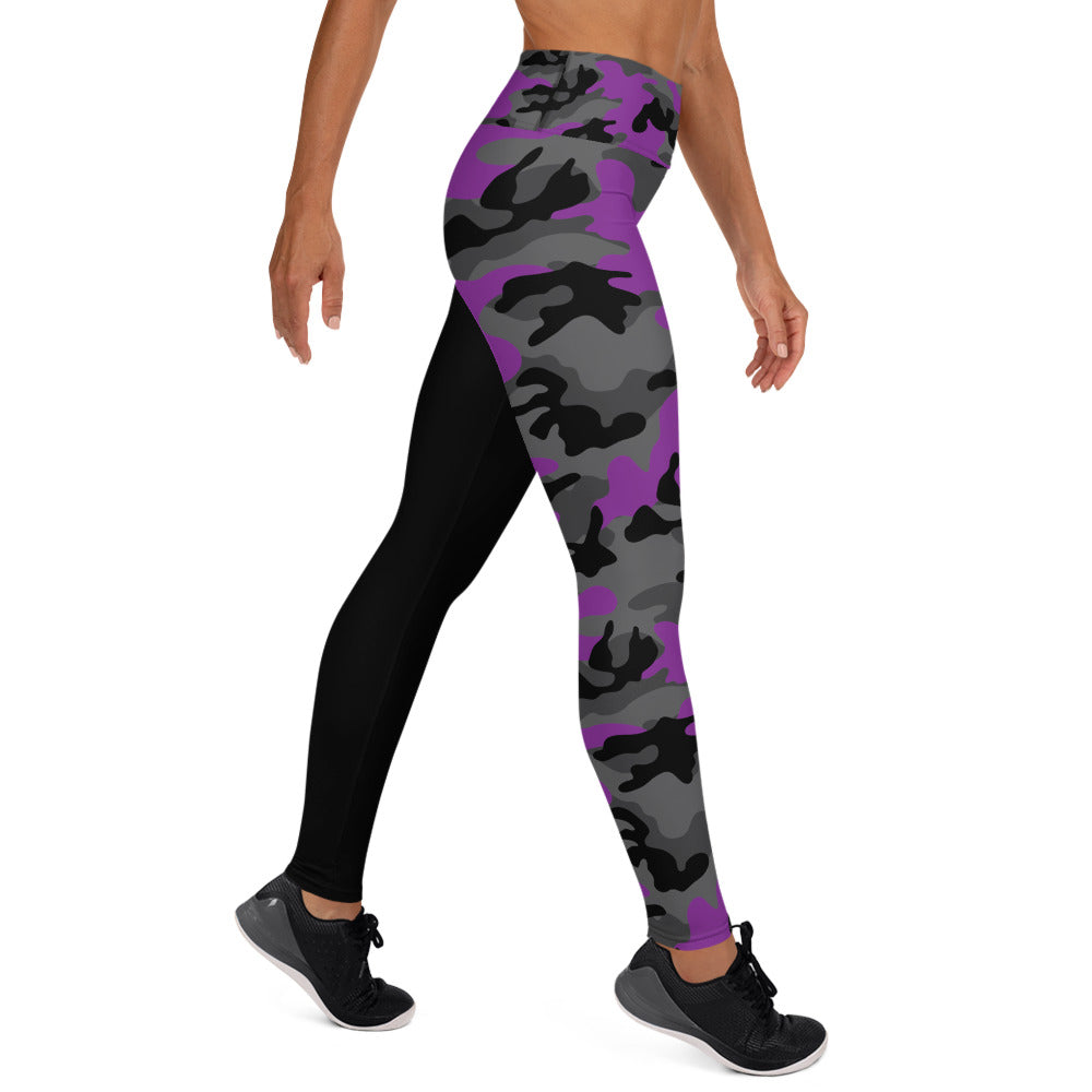 The Rain-Bell Purple/Black Half Camo Leggings