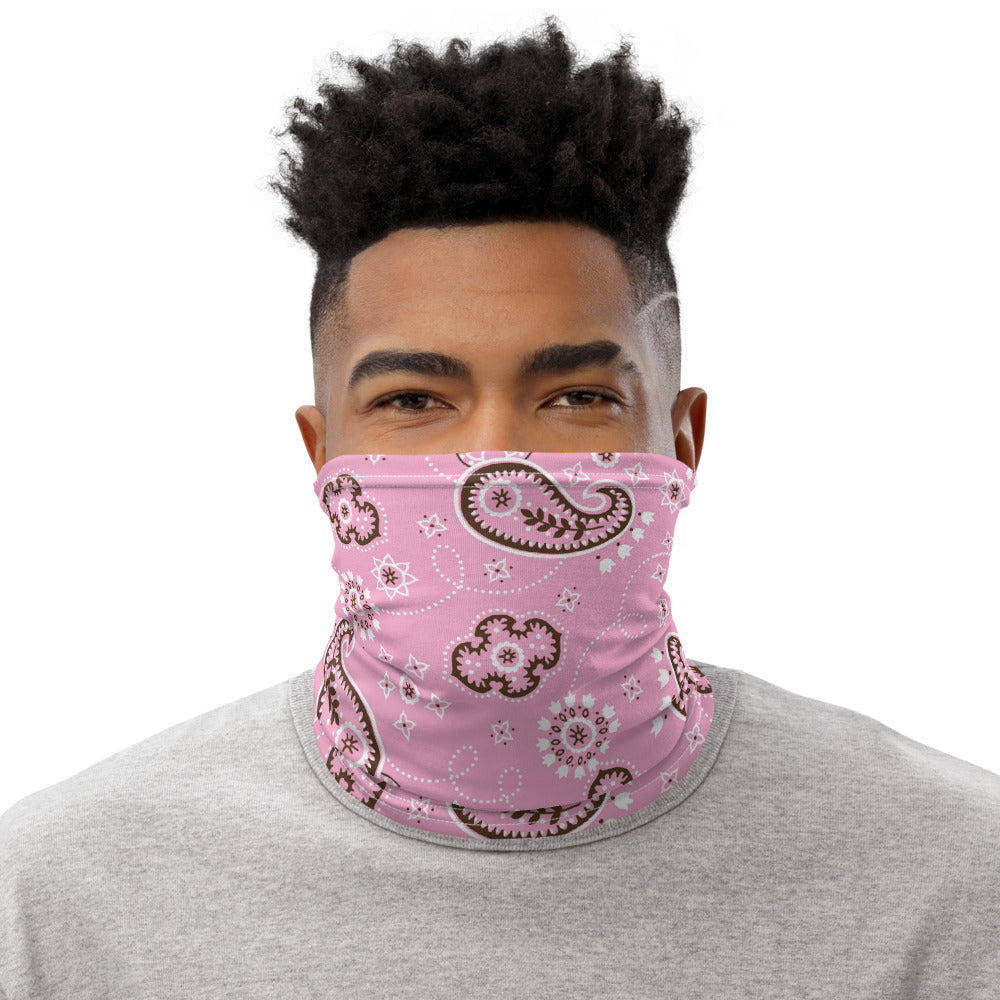 Pink And Brown Bandana Neck Gaiter