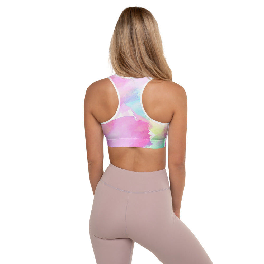 Tropical Water Color Sports Bra