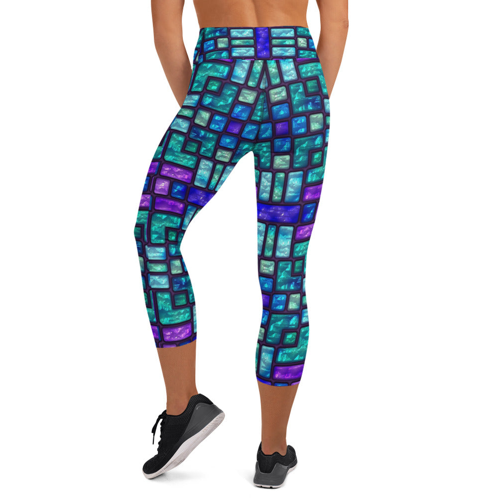 Stained Glass Turquoise And Amethyst Capri Leggings