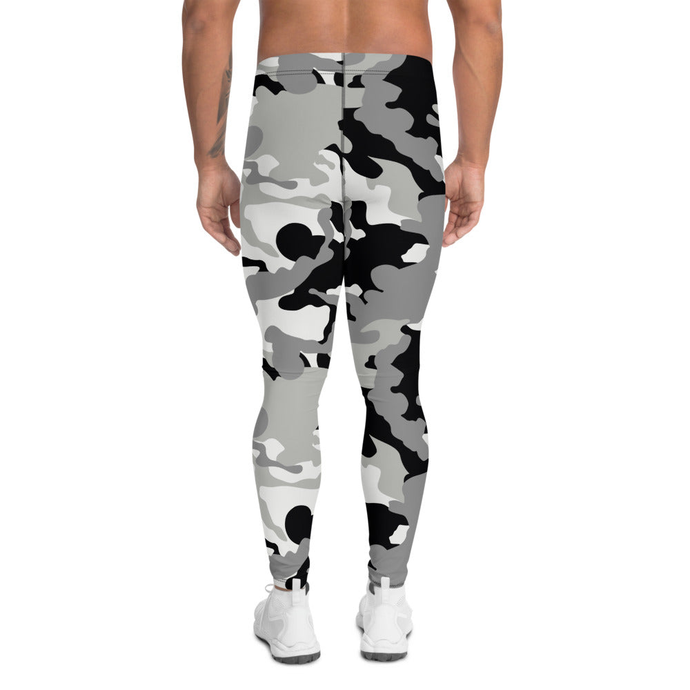 Men's Black And White Camouflage  Leggings