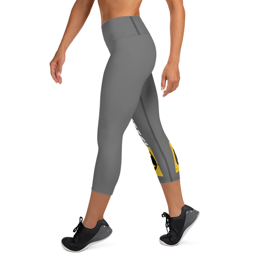 Gray And White Bomb Shelter Logo Capri Leggings