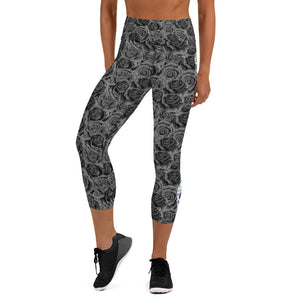 Colorful Sugar Skulls And Gray Roses Capri Leggings