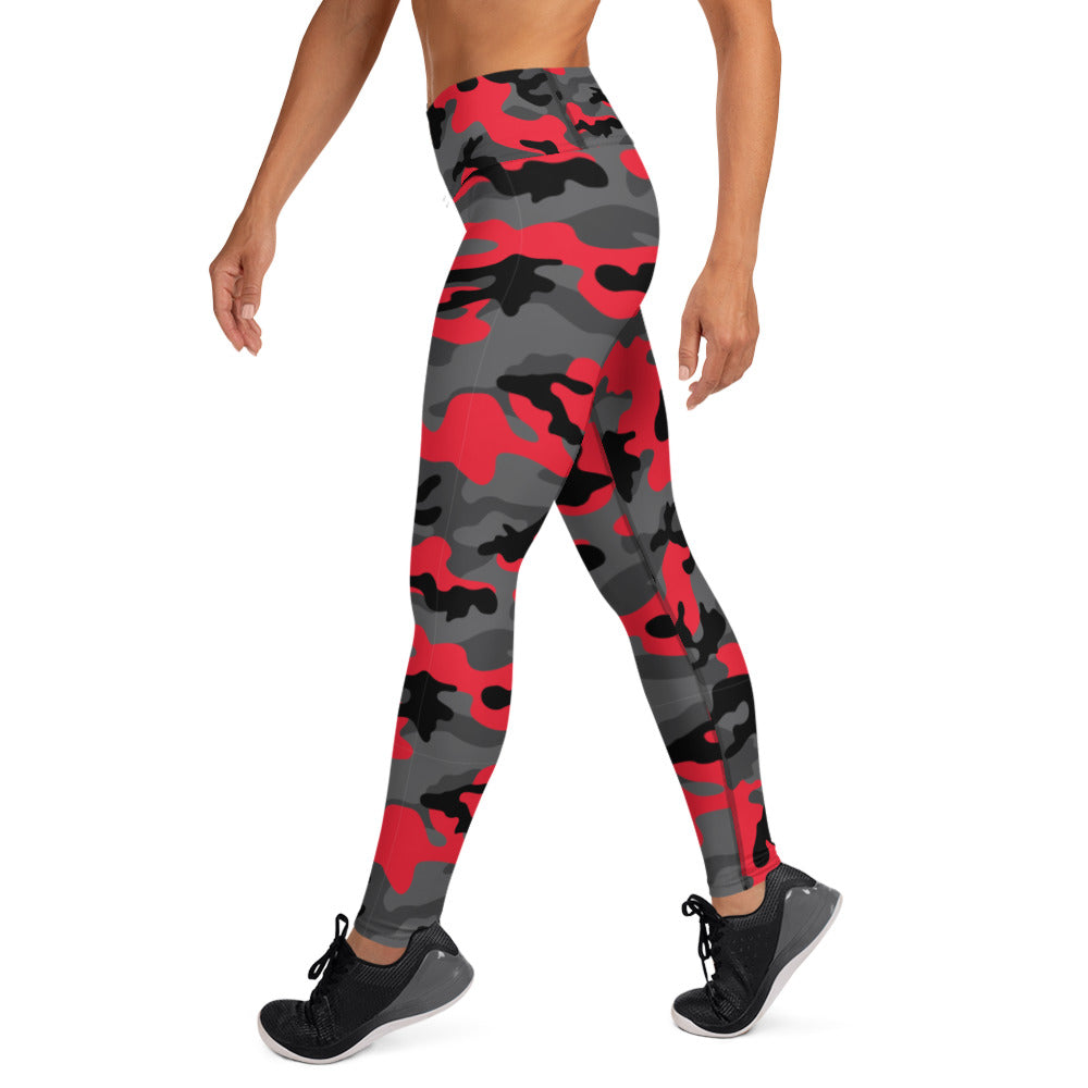 Red, Black And Gray Camouflage Leggings