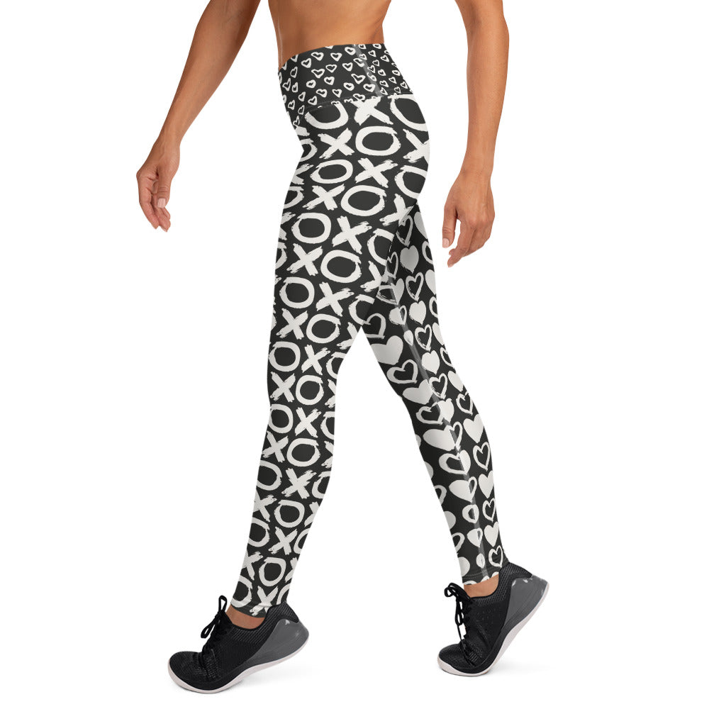 Love, Hugs and Kisses Black Leggings