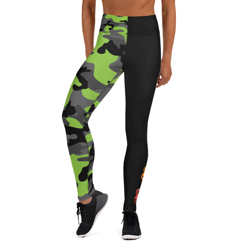 The Rain-Bell Green/Black Half Camo  Leggings