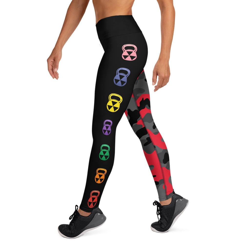 The Rain-Bell Red/Black Half Camo  Leggings
