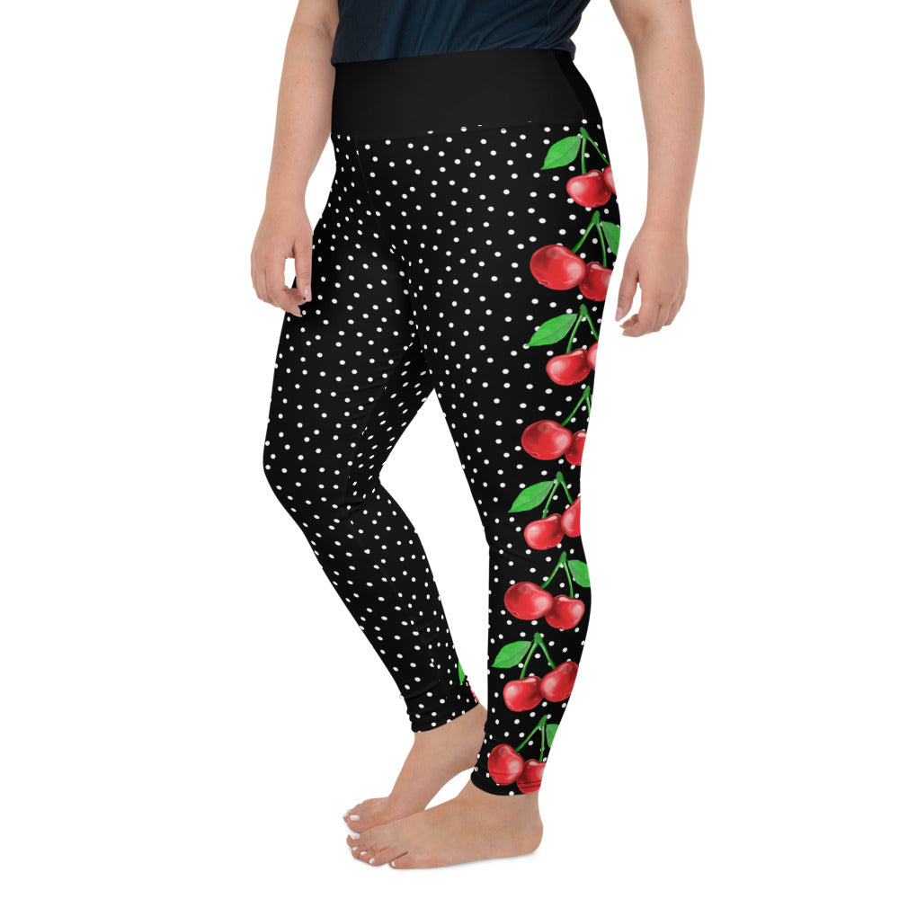 Cherries and Polka Dots Plus Size Leggings