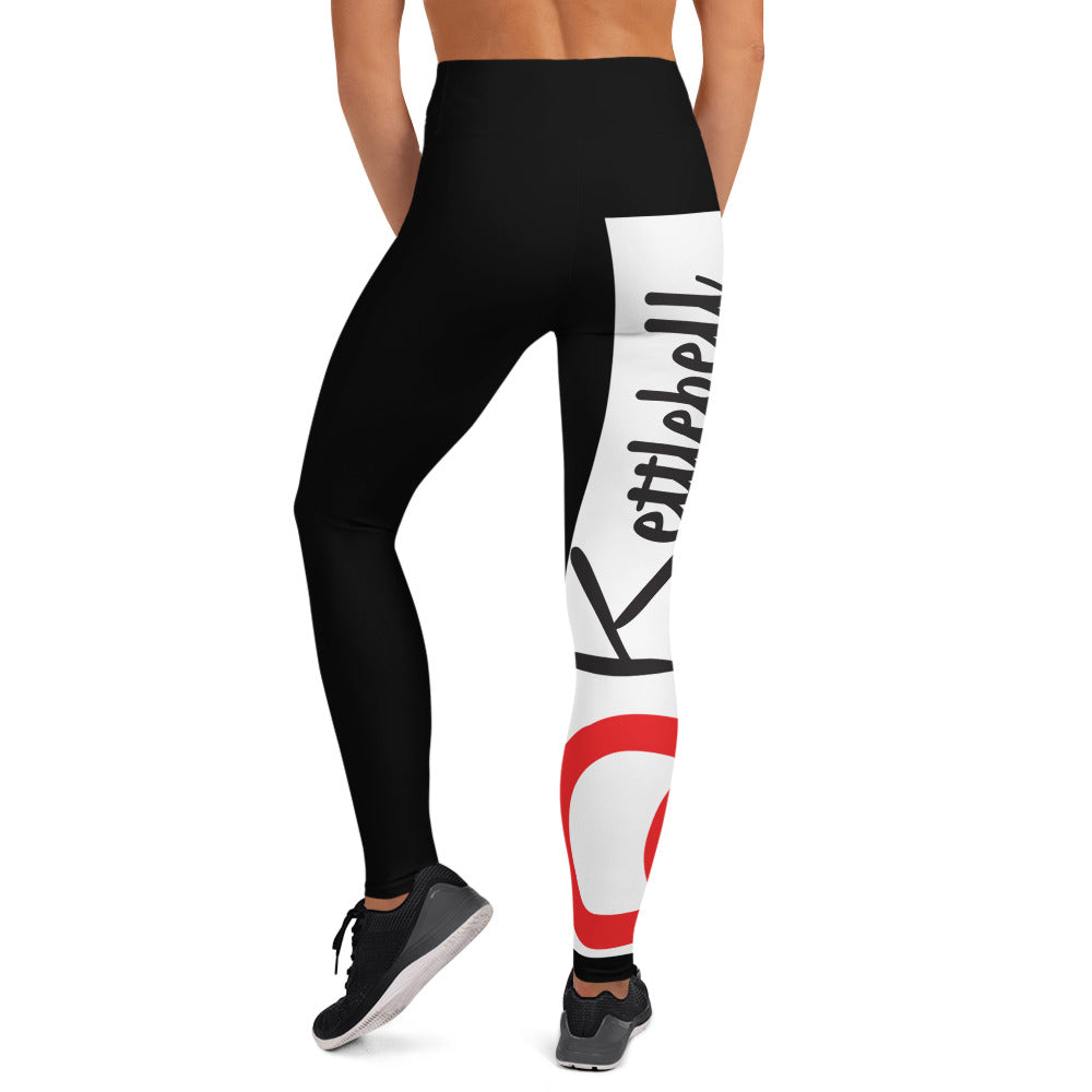 KBBS White Logo High Waist  Leggings Black