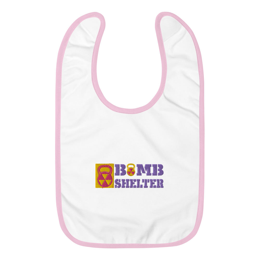Baby Pink Bomb Shelter Embroidered Baby Bib
