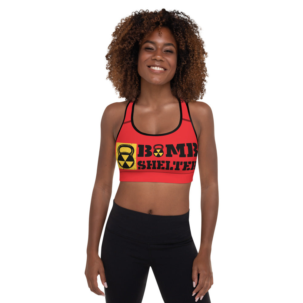Red And Black Bomb Shelter Logo Sports Bra