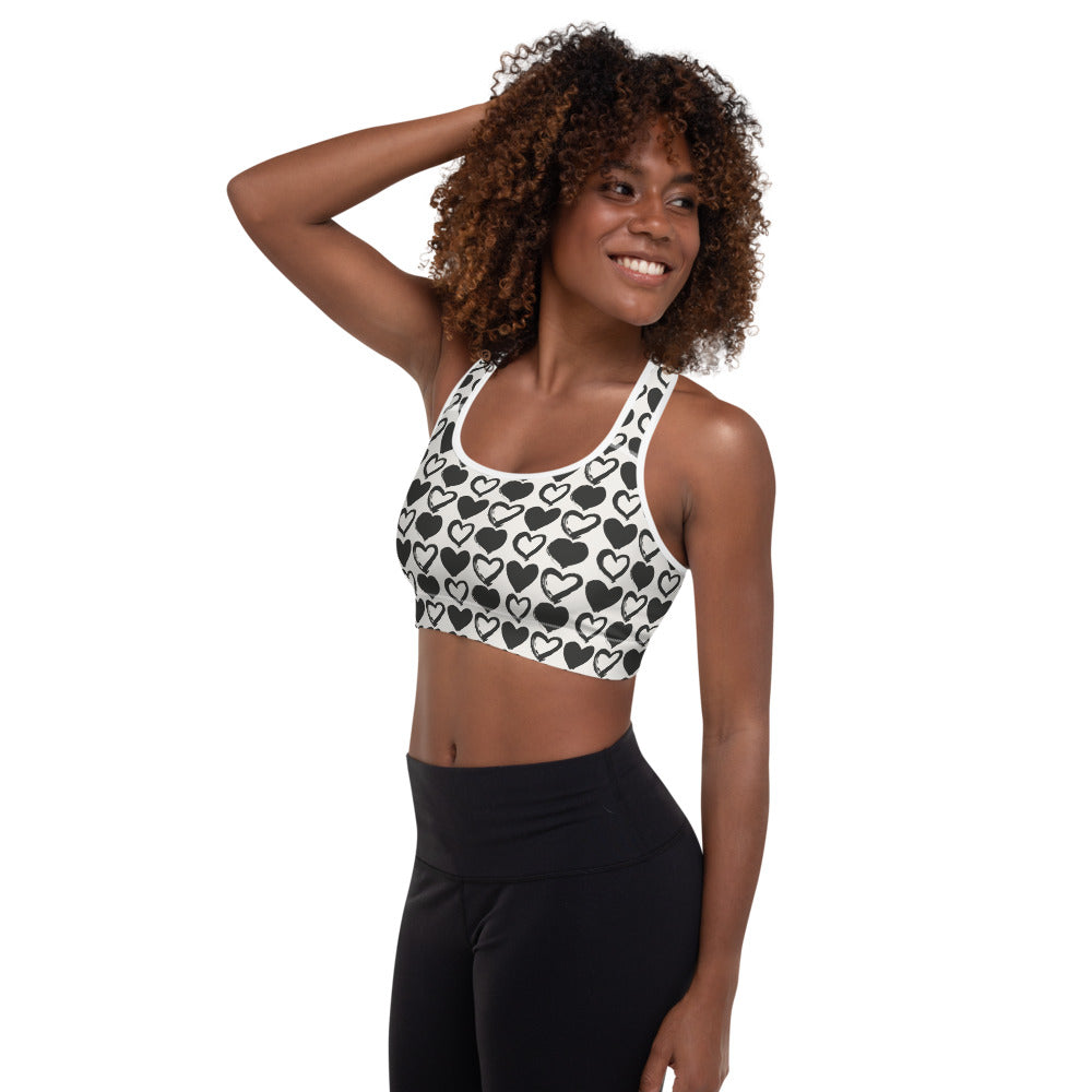 Love, Hugs and Kisses White Sports Bra