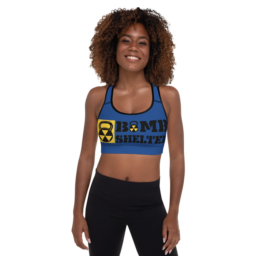Blue And Black Bomb Shelter Logo Sports Bra