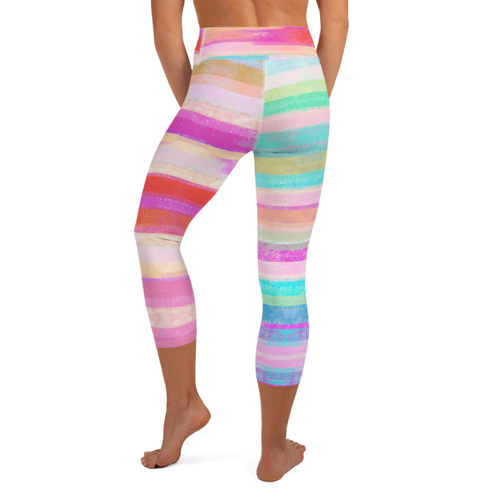 Southwest Striped High Waist Capri Leggings