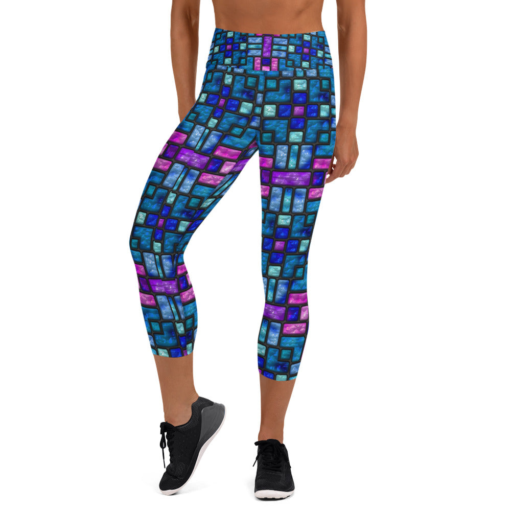 Stained Glass Sapphire And Fuscia Capri Leggings