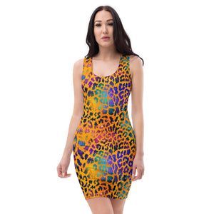 Orange watercolor leopard Dress