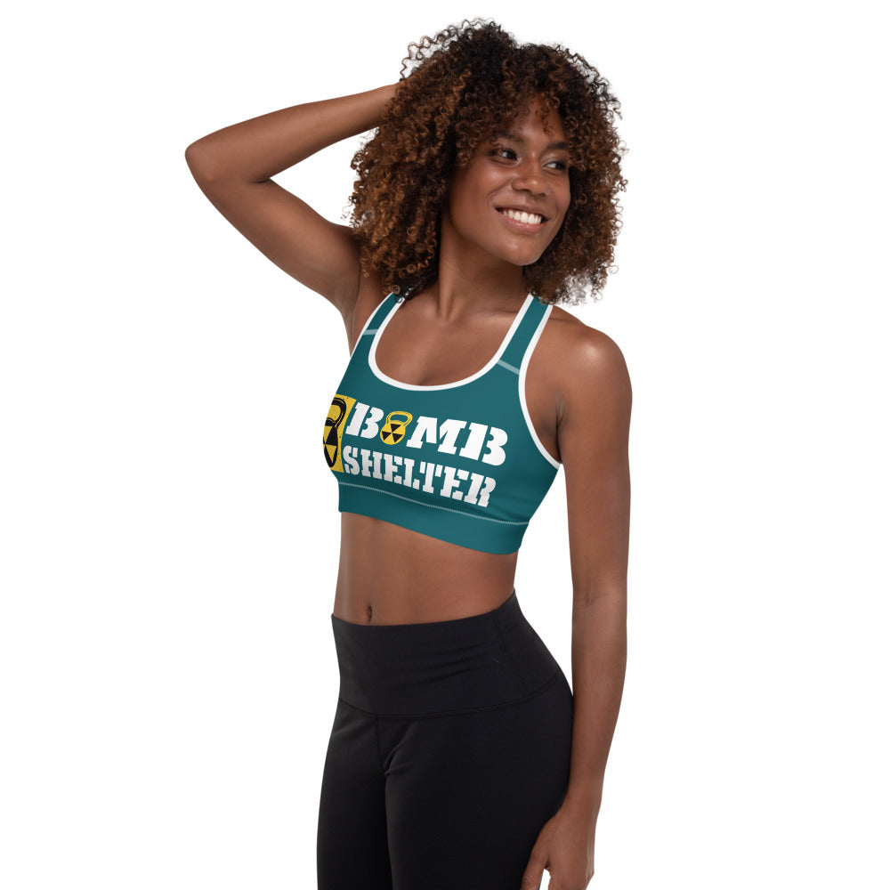 Teal And White Bomb Shelter Logo Sports Bra