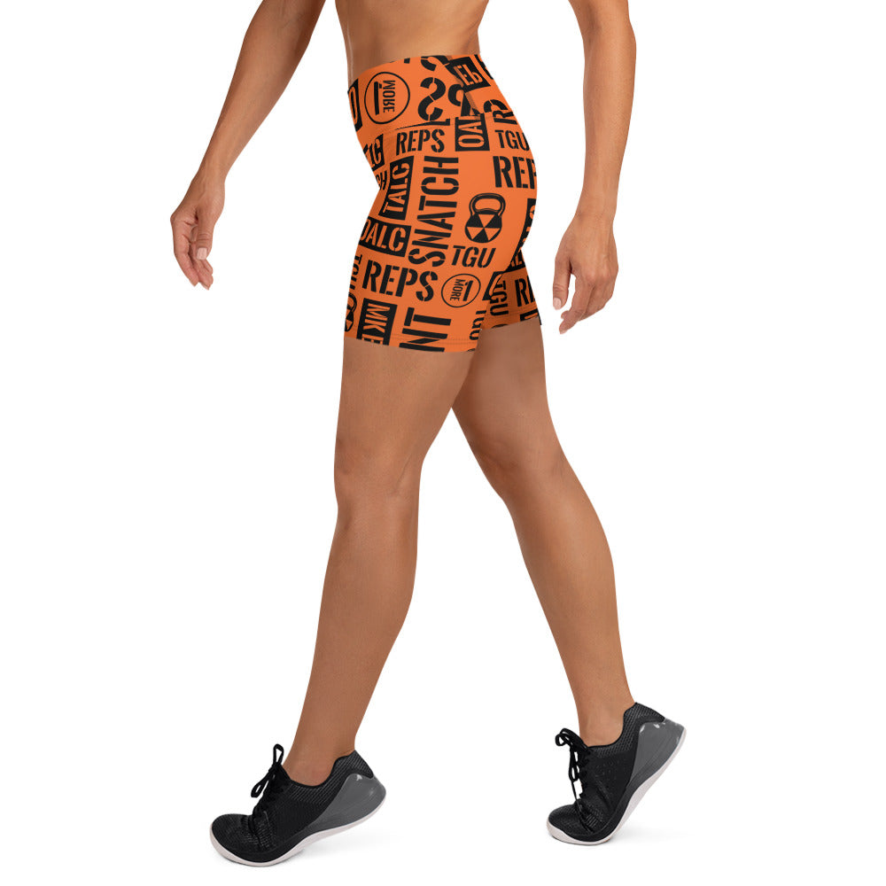 Orange Kettlebell Sport Acronyms  Shorts