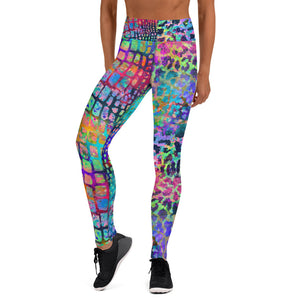 Water Color Leopard And Snake Skin Leggings