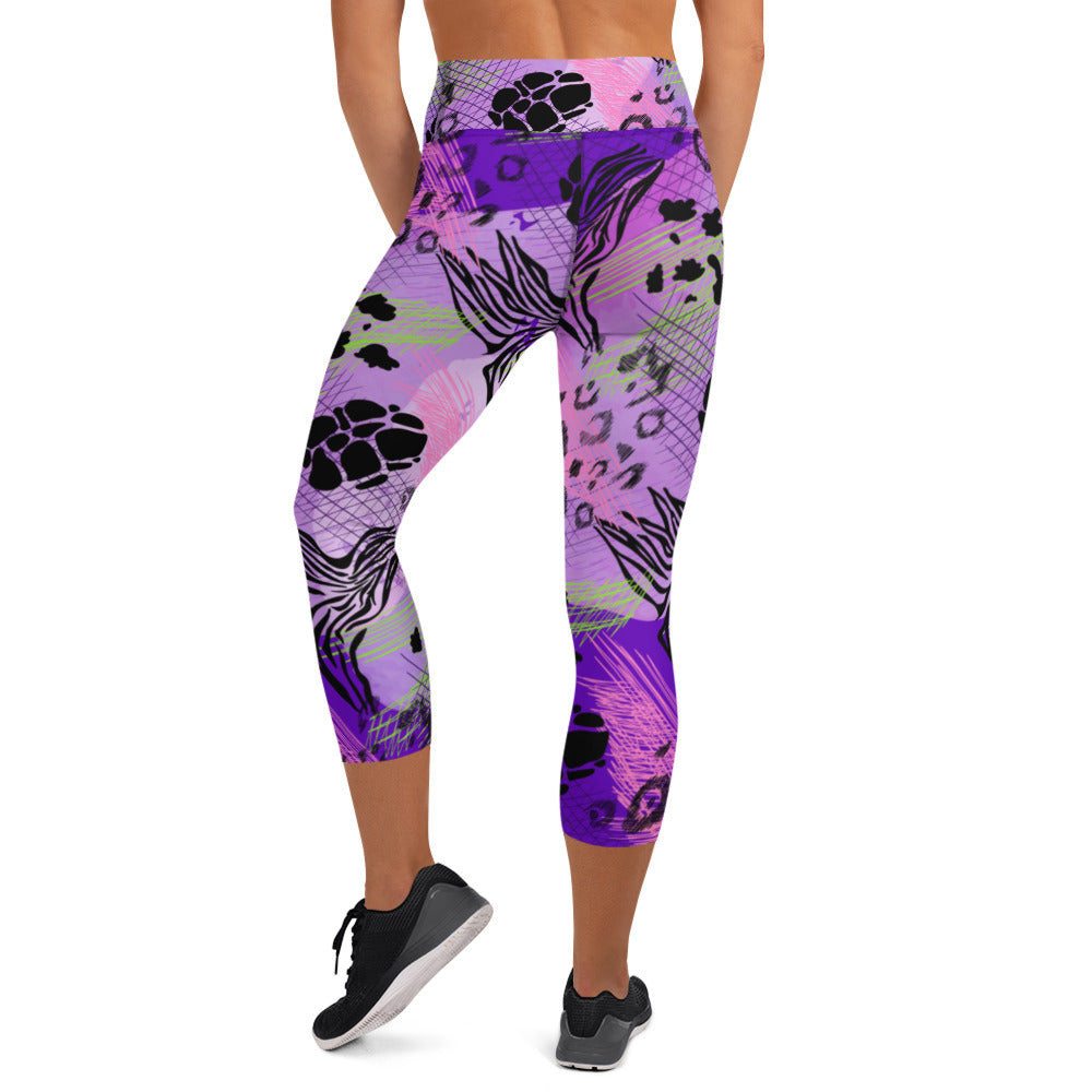 Purple Safari Capri Leggings
