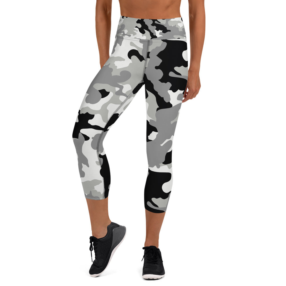 Black And White Camouflage Capri Leggings
