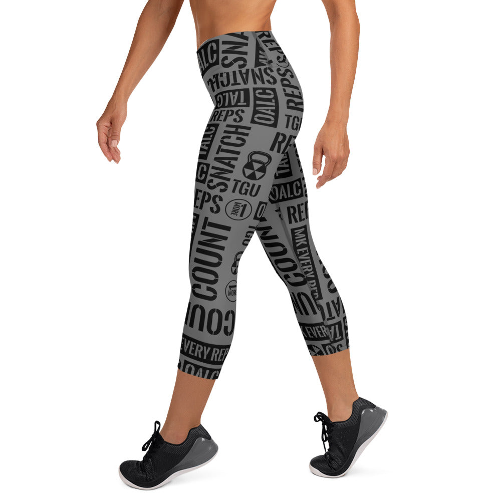 Dark Gray Kettlebell Sport Acronyms  Capri Leggings