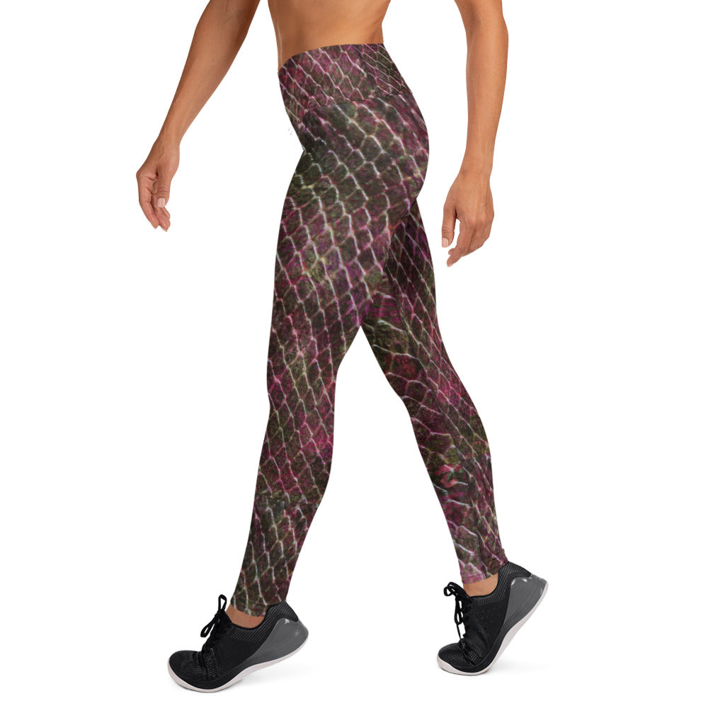 Wine And Moss Green Crocodile Leggings