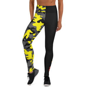 The Rain-Bell Black/Yellow Half Camo Leggings