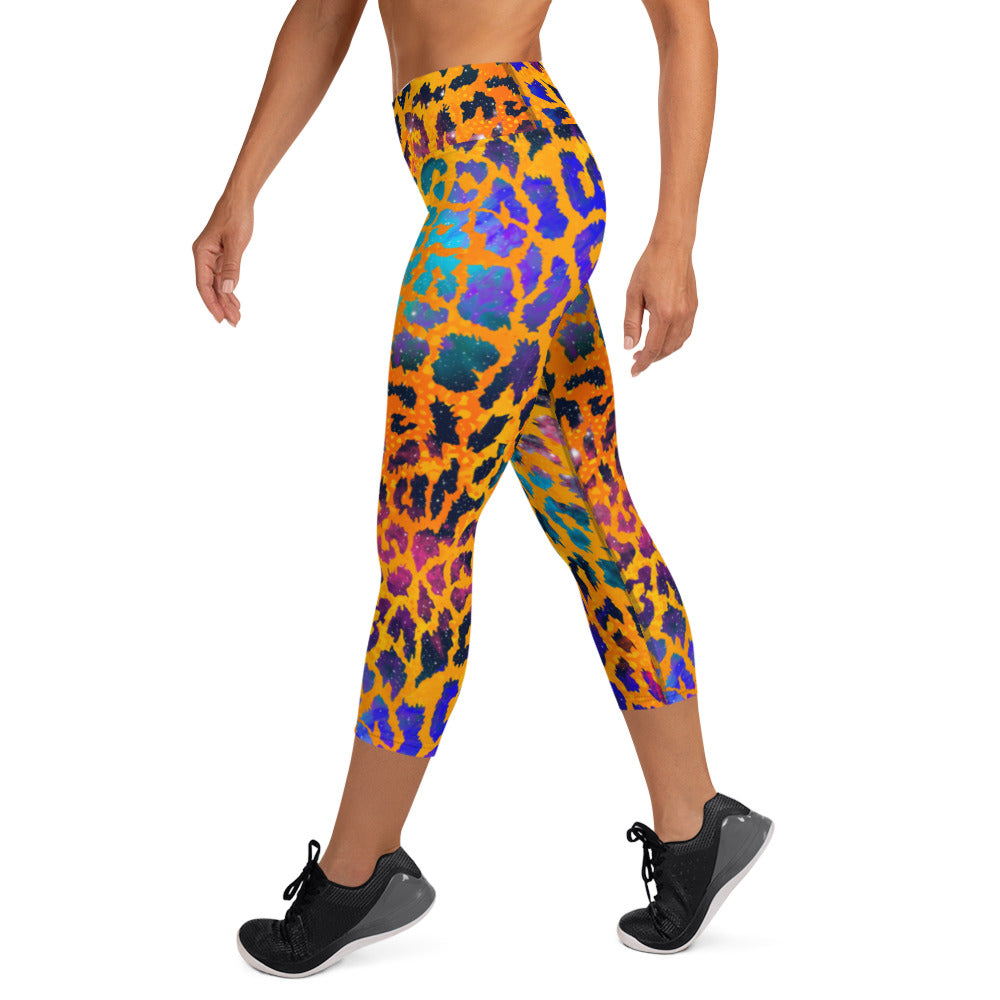 Orange Water Color Leopard Capri Leggings